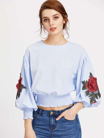 Embroidered Appliques Lantern Sleeve Shirred Top