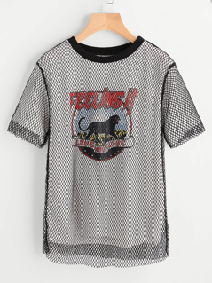 Fishnet Overlay 2 In 1 Graphic Tee