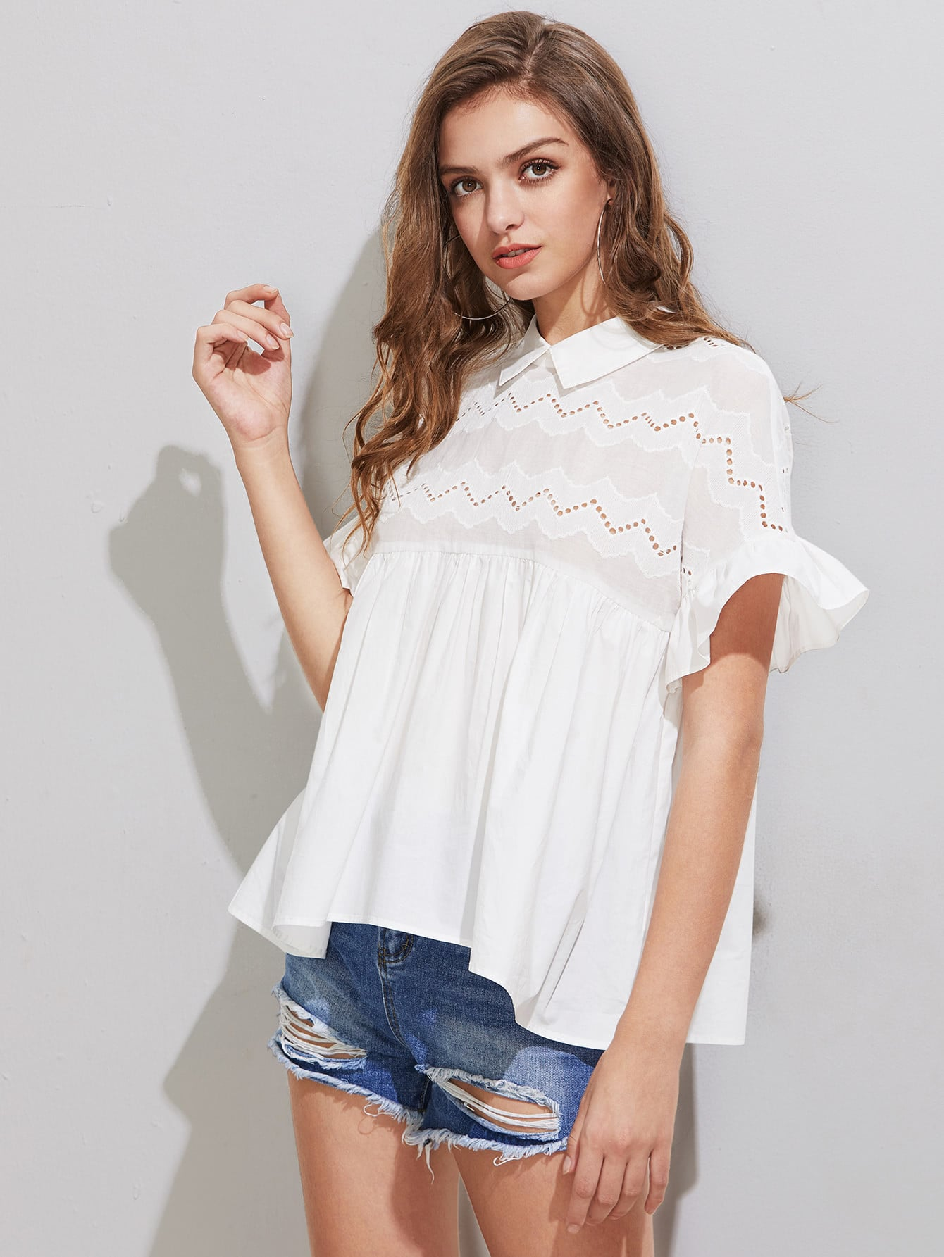 Eyelet Embroidered Yoke Frill Sleeve Tie Back Smock Top frill detail trumpet sleeve checked smock top