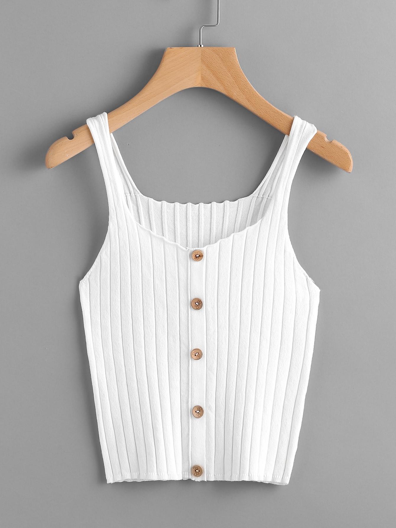 Button Front Rib Knit Tank Top vest170614451
