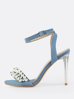 Denim Clear Stiletto Pearl Heels DENIM