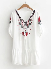 Flower Embroidery Ruffle Hem Tassel Tie Dress