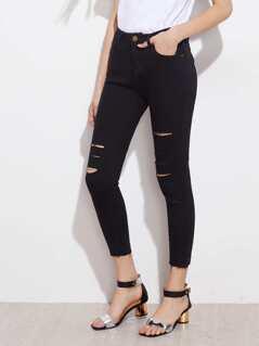 Raw Hem Slashed Jeans