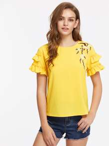 Flower Blossom Applique Layered Sleeve Top