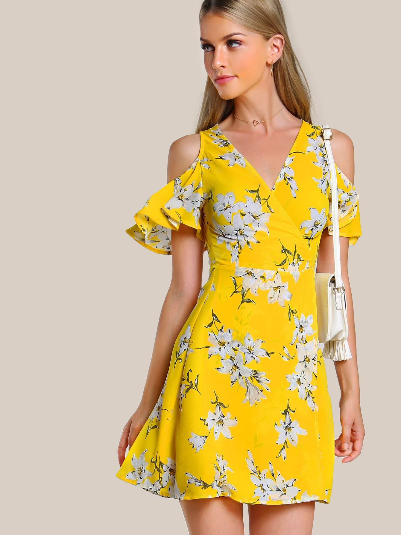 Open Shoulder Flutter Sleeve Surplice Wrap Dress Shein