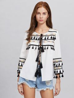 Embroidered Tape And Tassel Trim Tie Front Blouse