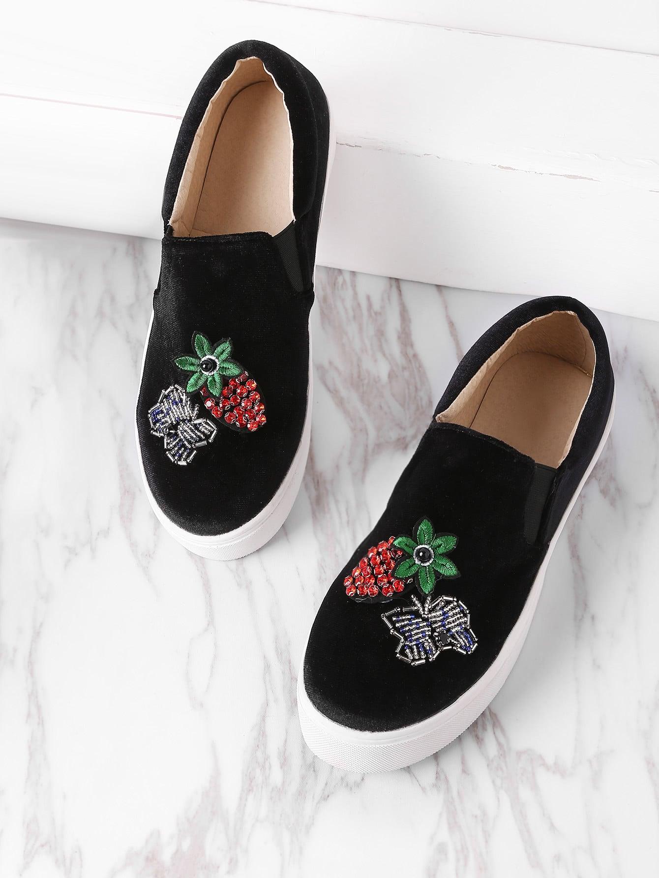 Фото Pineapple And Butterfly Pattern Flatform Velvet Shoes. Купить с доставкой