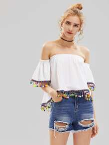 Bardot Embroidered Tape Detail Pom Pom Top