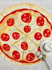 Pizza Print Round Beach Blanket
