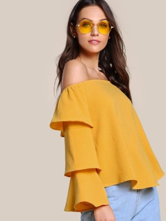 Off Shoulder Ruffle Sleeve Top MUSTARD