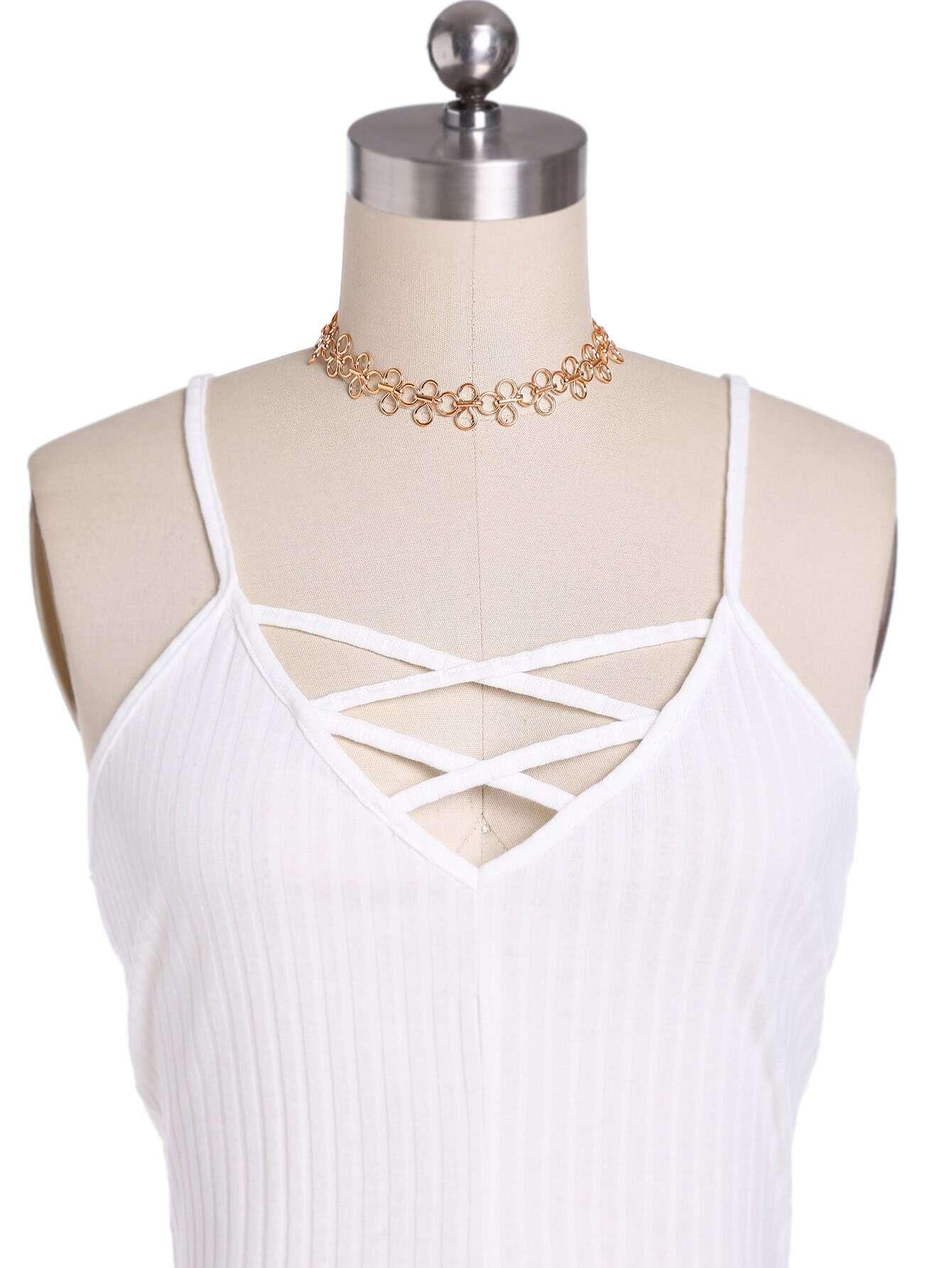 Фото Hollow Flower Design Choker Necklace. Купить с доставкой