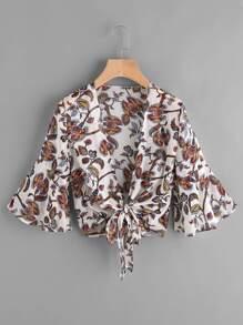 Fluted Sleeve Printed Random Knot Chiffon Kimono