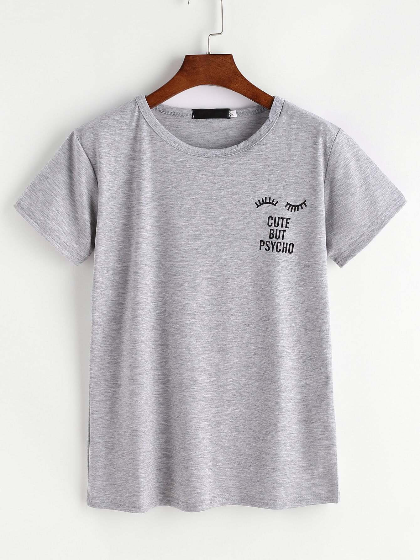 Grey Eyelashes And Letter Print T-shirt grey eyelashes and letter print t shirt
