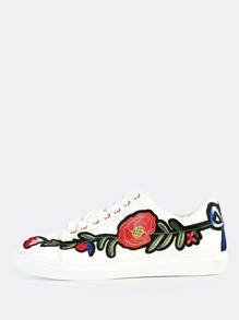 Embroidered PU Lace Up Sneakers WHITE