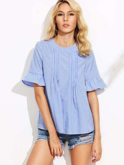 Vertical Striped Frill Sleeve Button Back Blouse