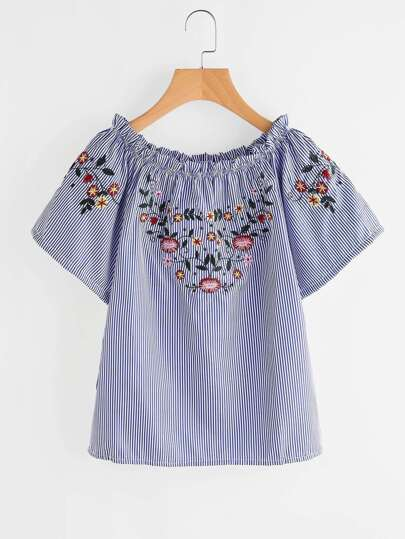 Boat Neckline Floral Embroidered Striped Blouse