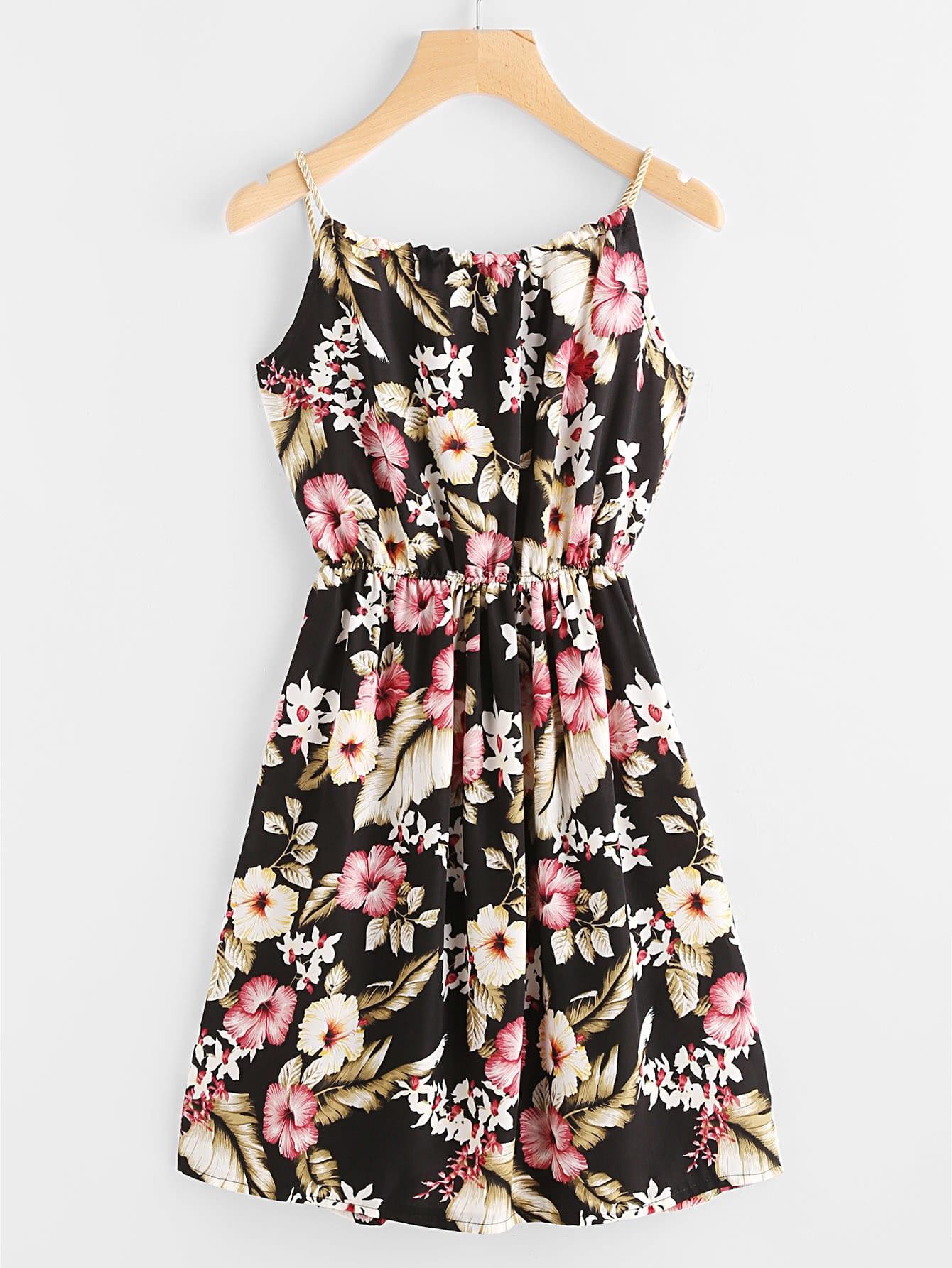 Фото Florals Self Tie Cami Dress With Faux Pearl Detail. Купить с доставкой