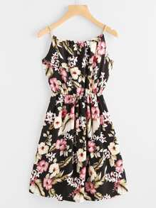 Florals Self Tie Cami Dress With Faux Pearl Detail