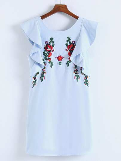 Flower Embroidery Ruffle Tiered Dress