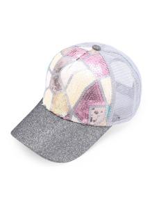 Sequin Embellished Net Baseball Cap