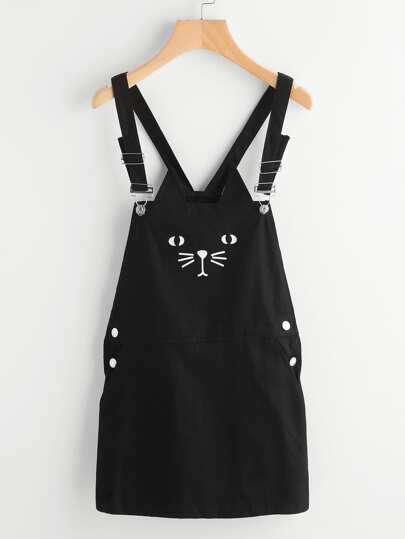 Cat Print Denim Pinafore Dress