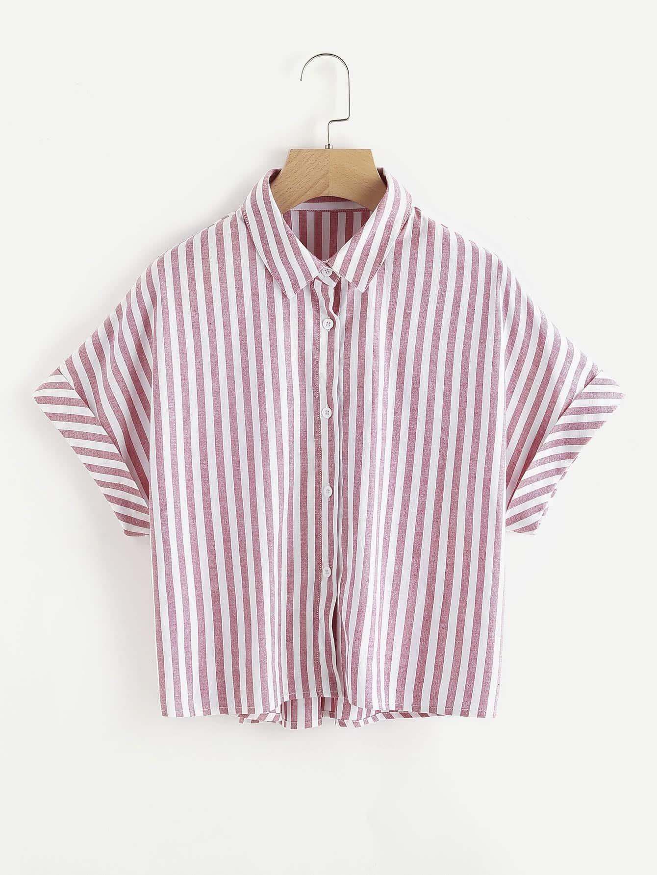 Фото Cuffed Dolman Sleeve Striped Shirt. Купить с доставкой