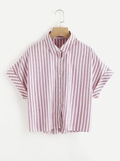 Cuffed Dolman Sleeve Striped Shirt