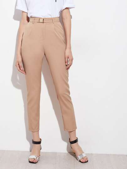 Tapered Leg Pants With Belt