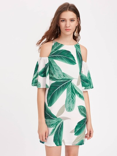 Palm Leaf Print Open Shoulder Bell Sleeve Dress