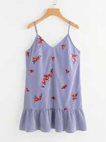 Flower Embroidered Keyhole Tie Back Frilled Cami Dress