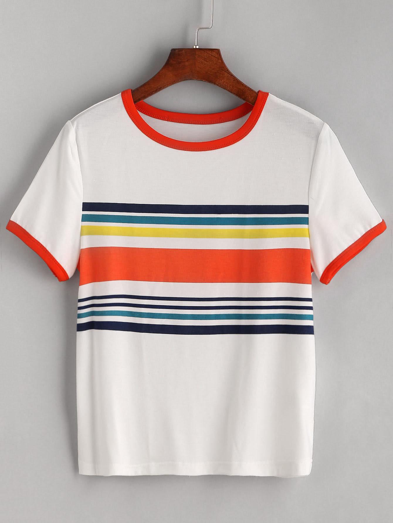 White Contrast Striped Trim T-shirt RTSH170307126