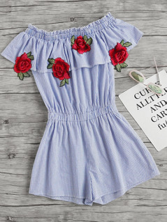 Embroidered Rose Applique Frill Bardot Romper