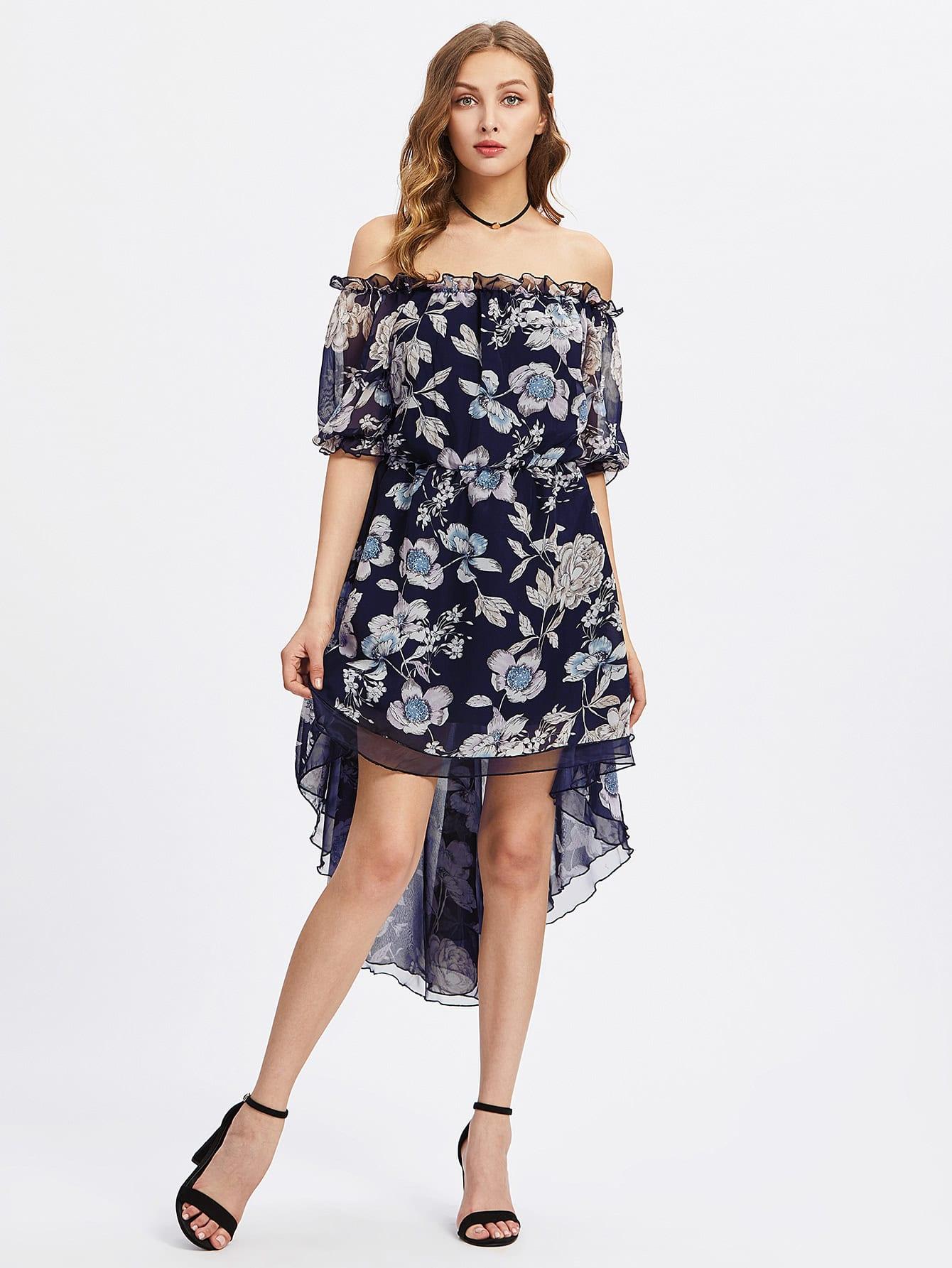 Фото Frilled Off Shoulder Elasticized Waist Dip Hem Dress. Купить с доставкой