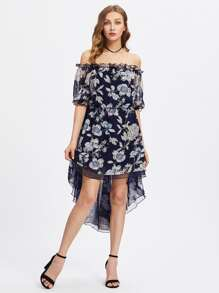 Frilled Off Shoulder Elasticized Waist Dip Hem Dress