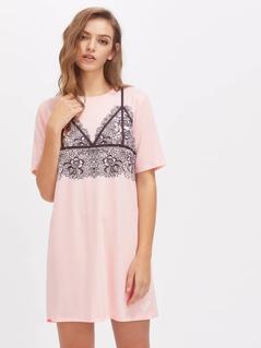 Contrast Lace Shift Dress