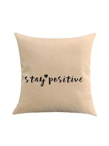 Slogan & Heart Print Cushion Cover