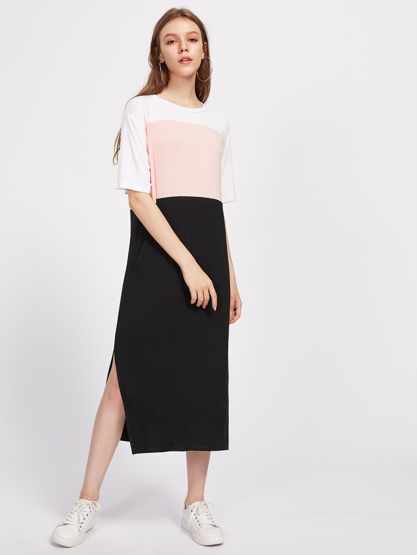Slit Side Cut And Sew Tee Dress