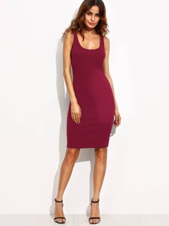 Double Scoop Neckline Form Fitting Dress