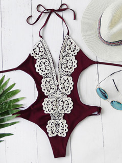 Crochet Lace Panel Halter One Piece Swimwear