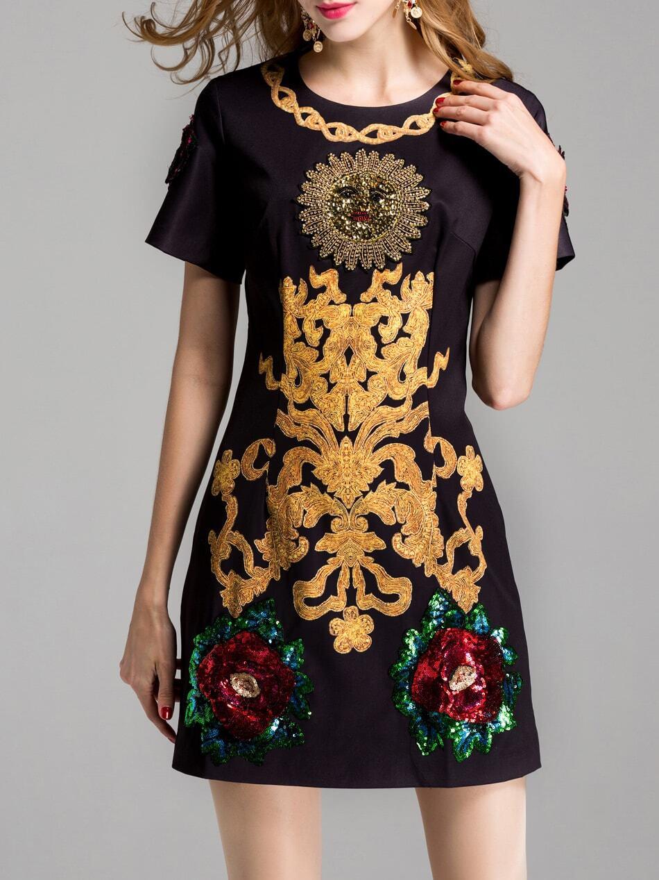 Фото Flowers Sequined Beading Shift Dress. Купить с доставкой