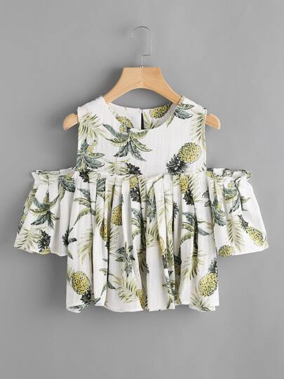 Palm Leaf Print Open Shoulder Frill Top