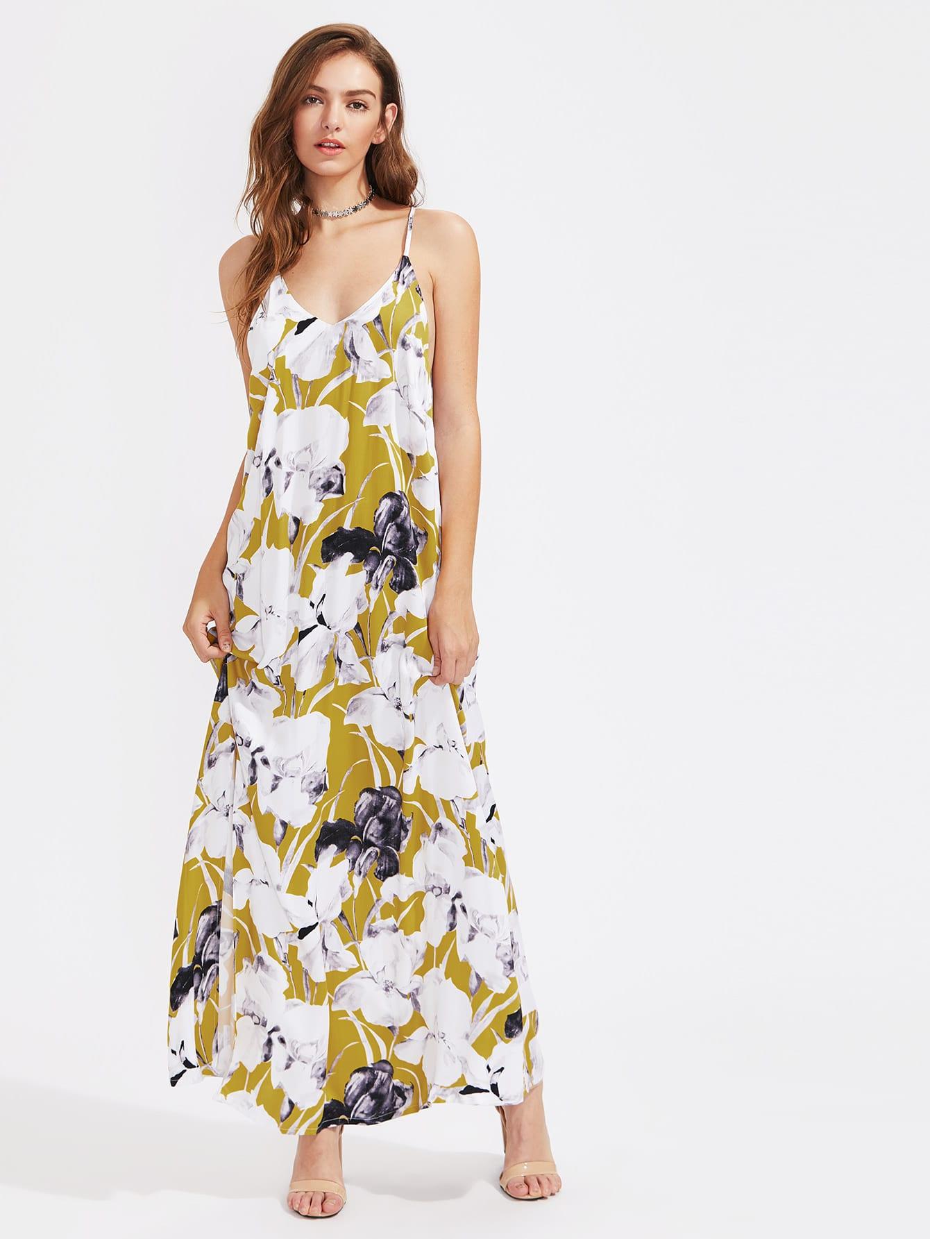 Фото Strappy V Back Slit Cami Dress. Купить с доставкой