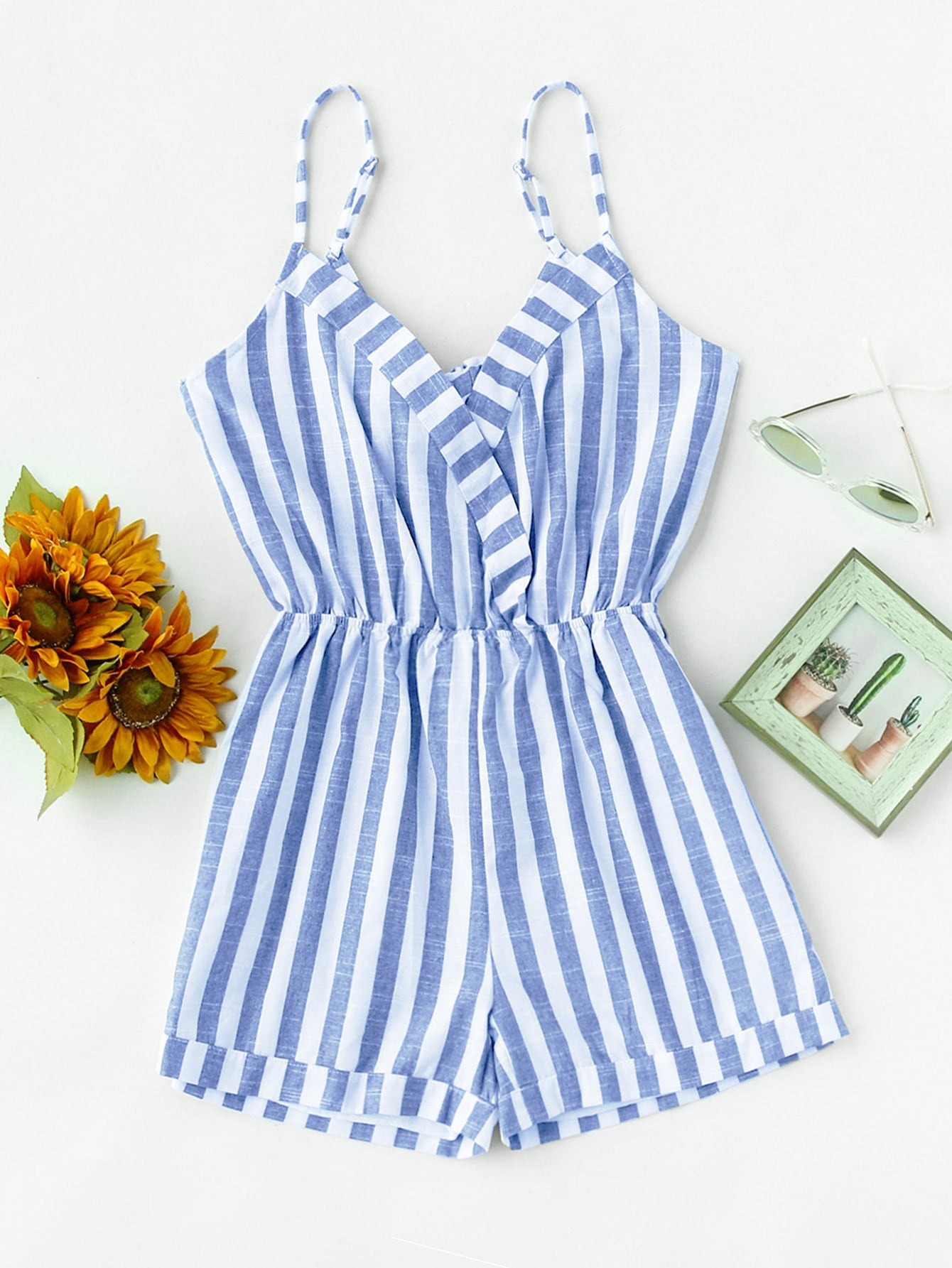 Striped Foldover Knot V Back Surplice Cami Romper