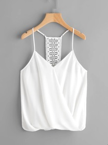Surplice Neckline Crochet Panel Cami Top