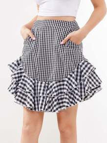 Layered Frill Trim Mixed Gingham Skirt