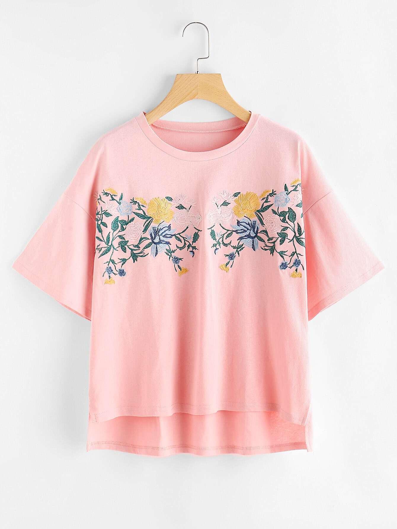 Фото Drop Shoulder Slit Side High Low Embroidered Tee. Купить с доставкой