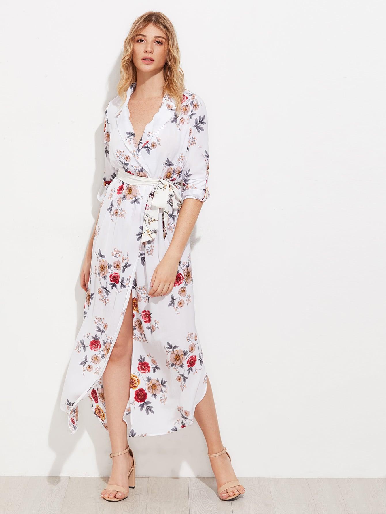 Фото Random Florals Self Tie Curved Hem Chiffon Dress. Купить с доставкой
