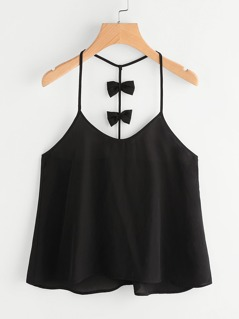 Bow Embellished Y-Back Cami Top