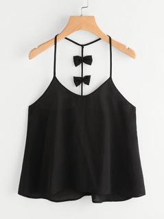 Bow Embellished Y-Back Cami Top