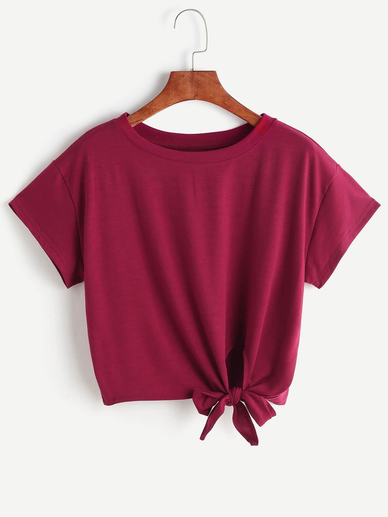 Burgundy Tie Side Crop T-shirt сумка abag 6262